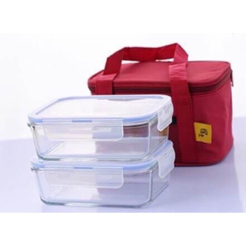 ~鍋寶~耐熱玻璃保鮮盒大容量2 入組附提袋