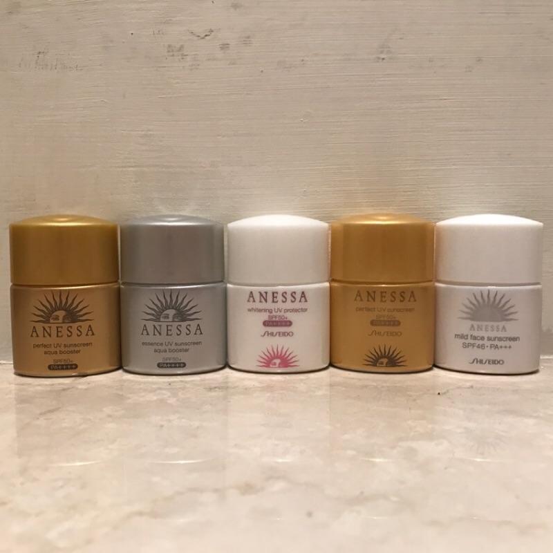 安耐曬金鑽高效銀鑽保濕美白高效臉部溫和12ml 旅行三件組資生堂金瓶防曬乳