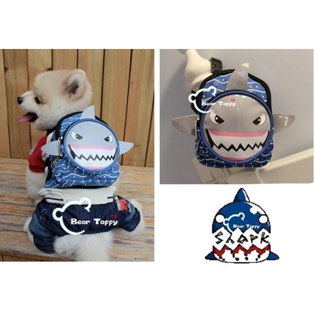 寵物自背的書包,透氣寵物自背包 PETSINN 鯊魚款狗自背書包