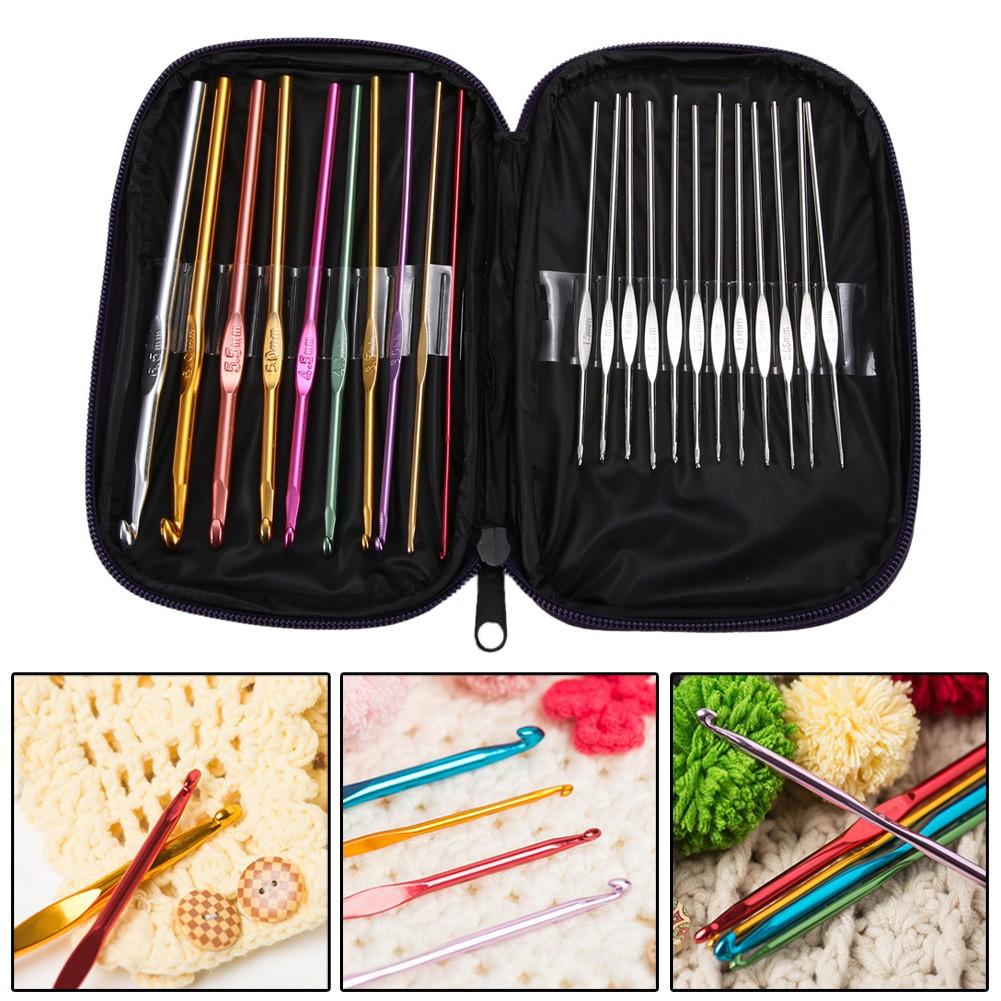 金屬鉤針包套裝22 根不銹鋼彩色鋁鉤針毛線編織工具
