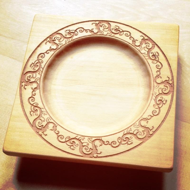 檜木杯墊螭龍圖騰