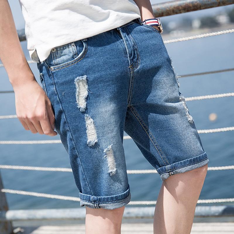 【现货】 破洞牛仔短褲男士薄款五分牛仔褲休閒中褲男 潮流乞丐裤