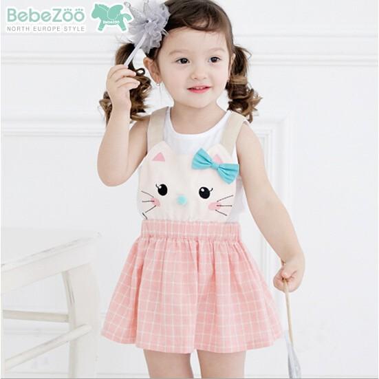 韓國Bebezoo 可愛貓咪蝴蝶結格子吊帶裙背帶裙粉色