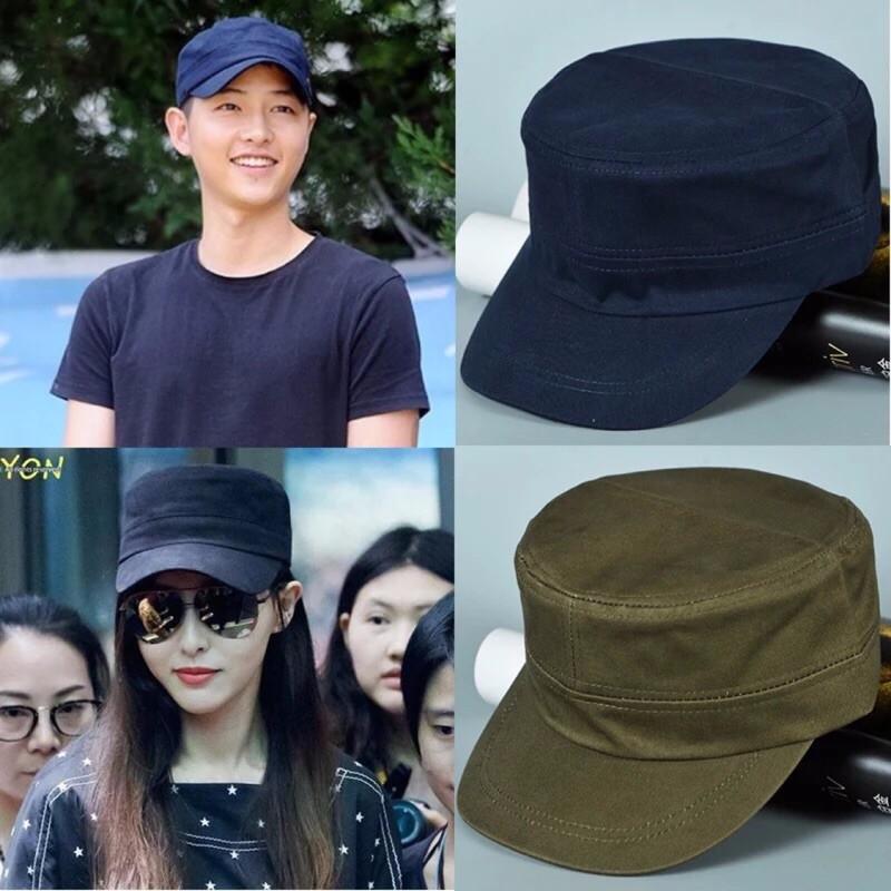 韓男女明星軍風潮流軍帽平頂帽海軍水手帽素面