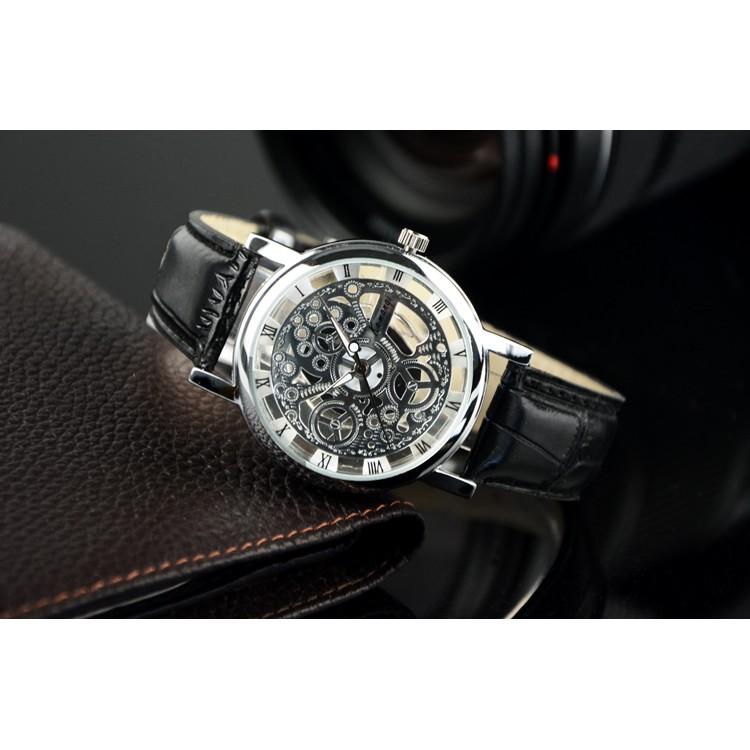 4 色防水復古鏤空手錶非機械表男士防水夜光學生女錶石英表男錶情侶表