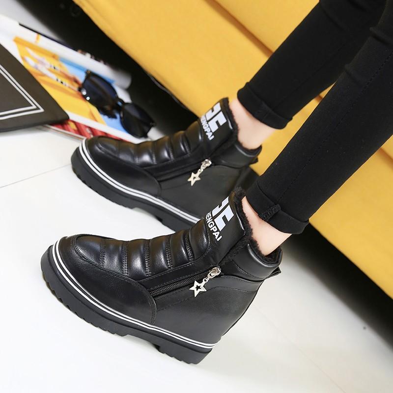 短靴2016 年  女鞋內增高高幫系帶 鞋小白鞋增高鞋 女過膝靴短靴馬丁靴靴子