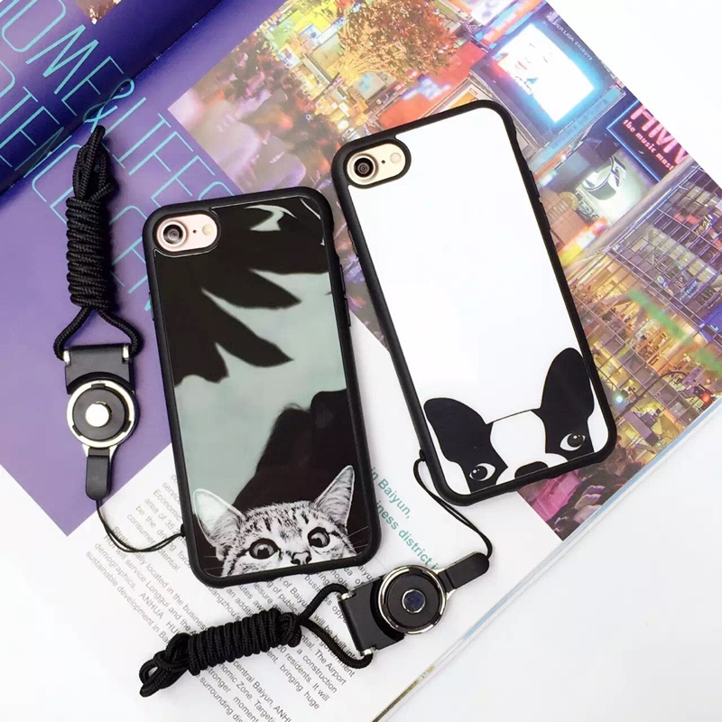 貓咪狗狗蘋果iphone7 情侶手機殼全包邊軟殼iphone7plus 全包軟邊殼oppo