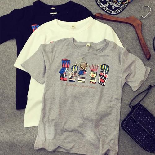 卡通國王圖案百搭寬鬆短袖圓領T 恤~~0067 BU ~黑色灰色白色