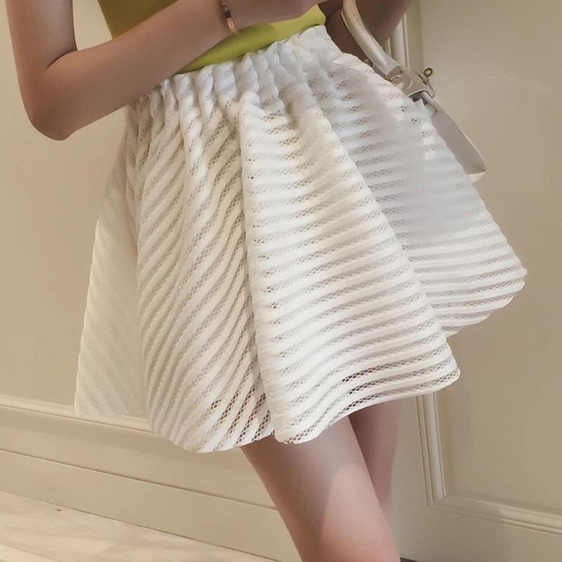 簍空鬆緊腰短裙網纱蓬蓬裙半身裙傘裙