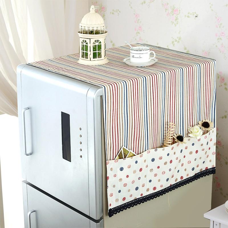 ~~印象家~~冰箱罩蓋巾冰箱防塵罩蕾絲收納袋布藝單雙對開門冰箱巾