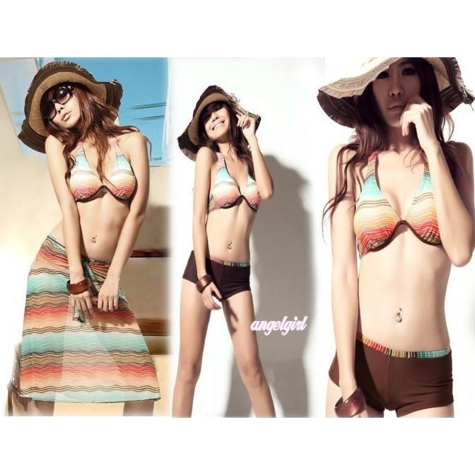 紅豆 南洋風三件式韓國海攤風波西米亞渡假風比基尼鋼圈集中3 件套裙泳裝溫泉泳衣