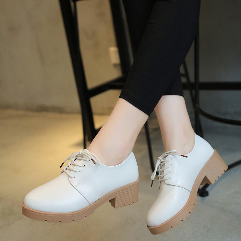 英倫學院風女鞋子 中跟圓頭復古學生小皮鞋女粗跟單鞋子女