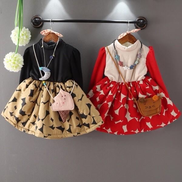 2016   女童不規則圖案加厚拼接袖連衣裙 裙子