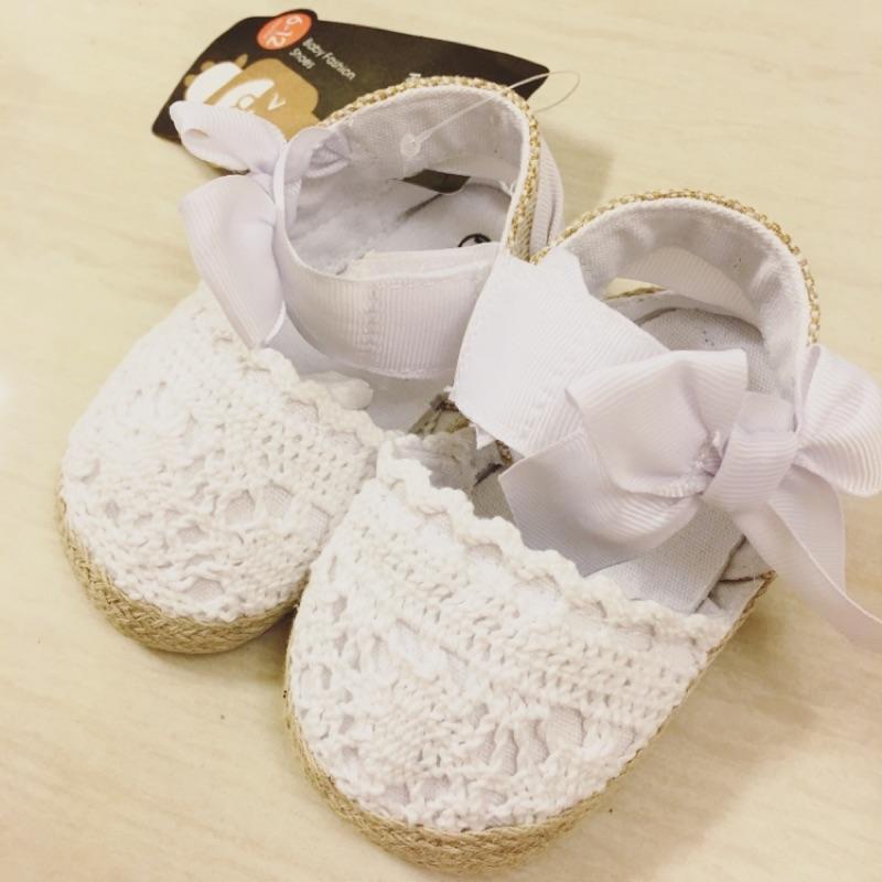 13cm ❤️ 蕾絲鉤花鏤空包頭涼鞋單鞋0 1 歲女寶寶學步鞋子布底透氣粉色白色