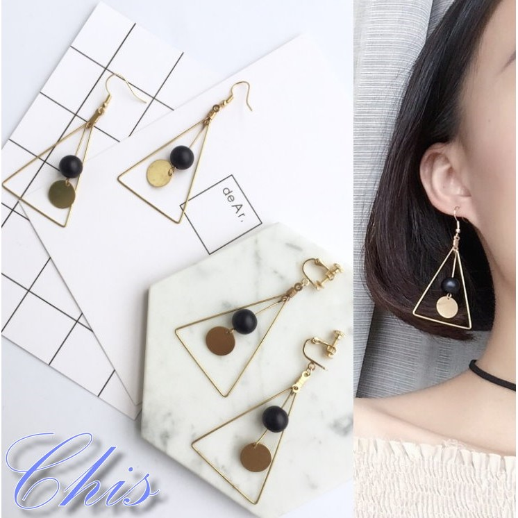 Chis Store ~長三角圓片小球耳環~韓國金屬鏤空三角形 感黃銅圓形火山石頭圓球球