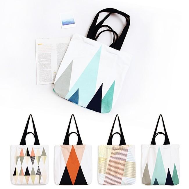 帆布包三角型幾何線條圖案側背包單肩包手提包共4 色