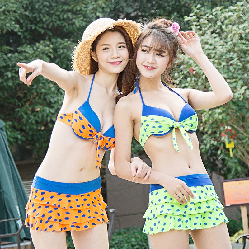 兩截式泳衣遮肉泳衣女泳衣❁2017 泳衣女可愛圓點分體裙式三角大小胸鋼托聚攏沙灘溫泉泳裝D