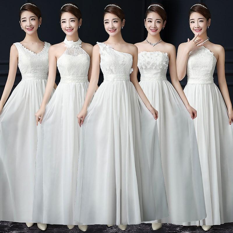 { 公主婚禮紀} 伴娘服長款韓式姐妹團禮服姊妹長裙女 氣質優雅晚禮服
