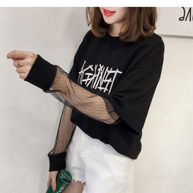 ~大量 ~~小YO 韓系 衣館~ 刺繡字母網紗拼接假兩件t 恤女長袖學生寬松套頭上衣