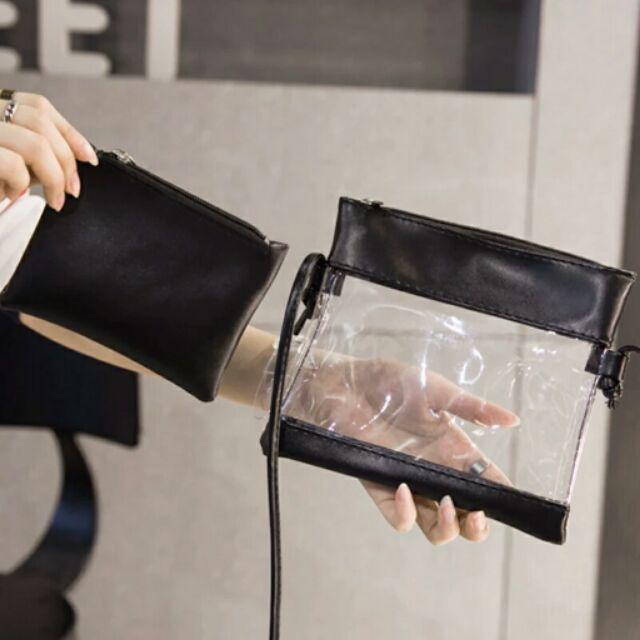 ( 取貨免 )韓國ulzzang 果凍透明子母包簡約小包單肩斜挎包學院風女包