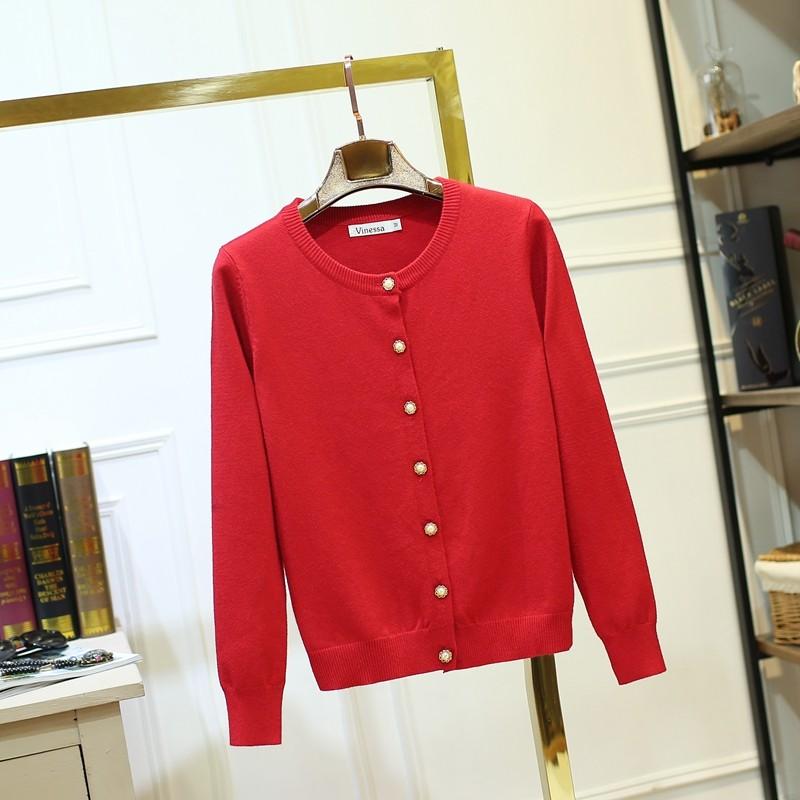 ~kiki ~大紅色 針織衫女長袖圓領修身顯瘦短款厚款大碼加厚毛衣開衫外套