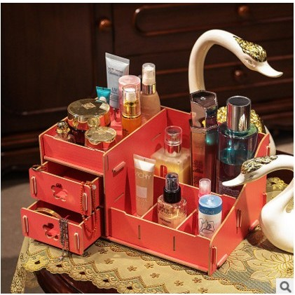 姵、蒂、屋、韓國DIY 木質收納盒化妝品首飾盒化妝盒子家居用品桌面收納盒化妝品收納盒