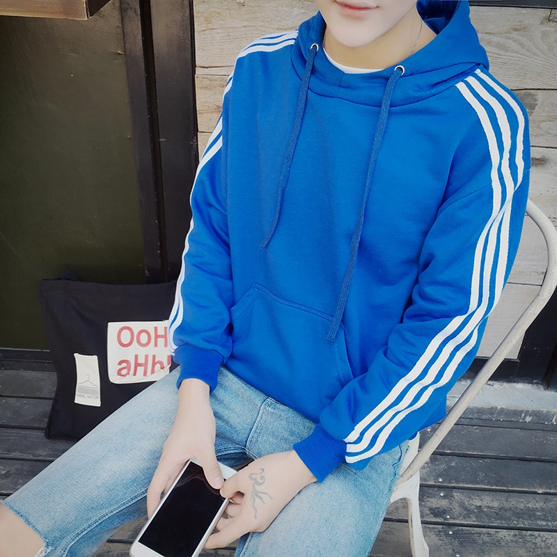 ~4MEN SHOP ~潮流 定番款3 色條紋袖連帽長袖TEE ~