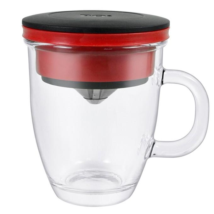 PO 不鏽鋼濾杯馬克杯組紅,等一個人咖啡免用濾紙經濟環保、簡單 隨行方便,享受手沖風味新選