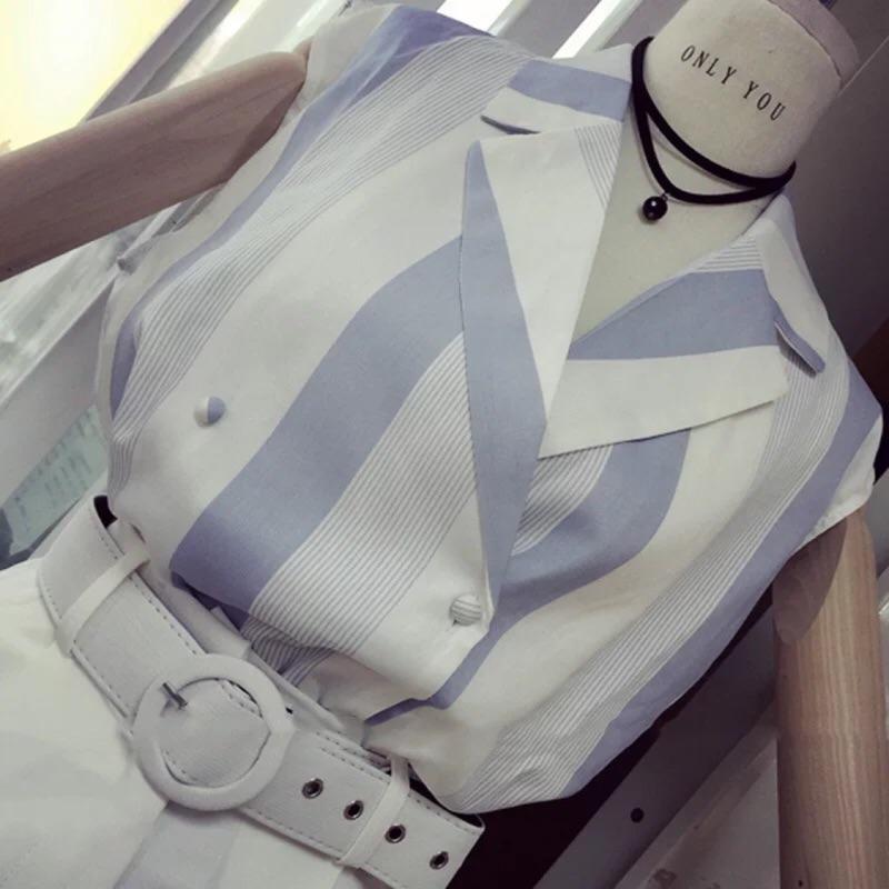 韓國 清新文藝藍條紋無袖西裝領襯衫女襯衣學生潮