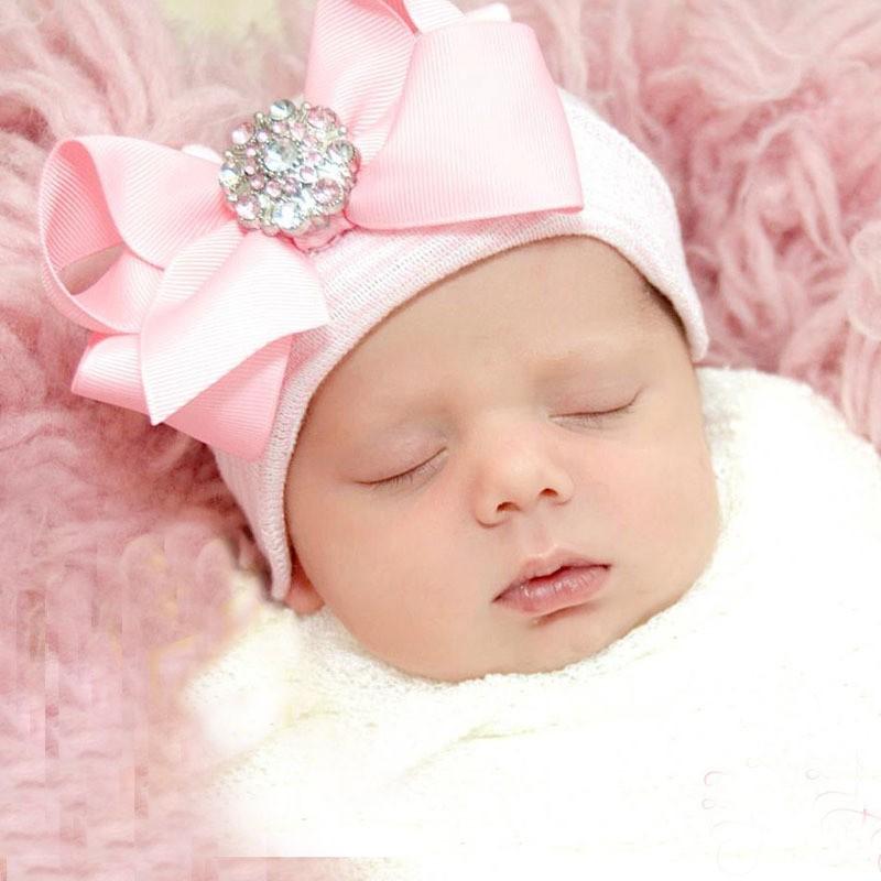 閃鑽蝴蝶結寶寶帽針織帽套頭帽可愛 宮廷帽 保暖帽兒童帽子