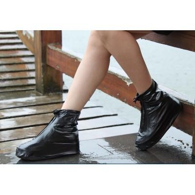 ✩阿白小舖✩TR6L 防雨鞋套平跟 防水鞋套加厚防滑男女士雨靴黑色