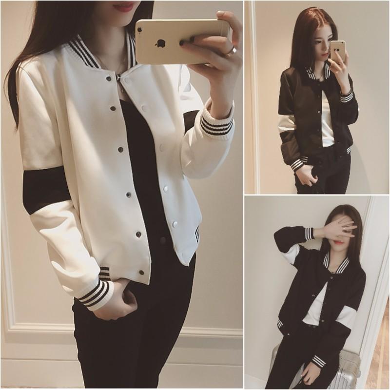 ❤白色L 有 ❤2016   寬鬆百搭黑白撞色休閒 棒球衫短外套女潮