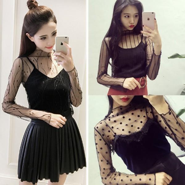 日韓爆款明星同款透視性感鏤空網格黑色網紗打底衫蕾絲衫韓妞