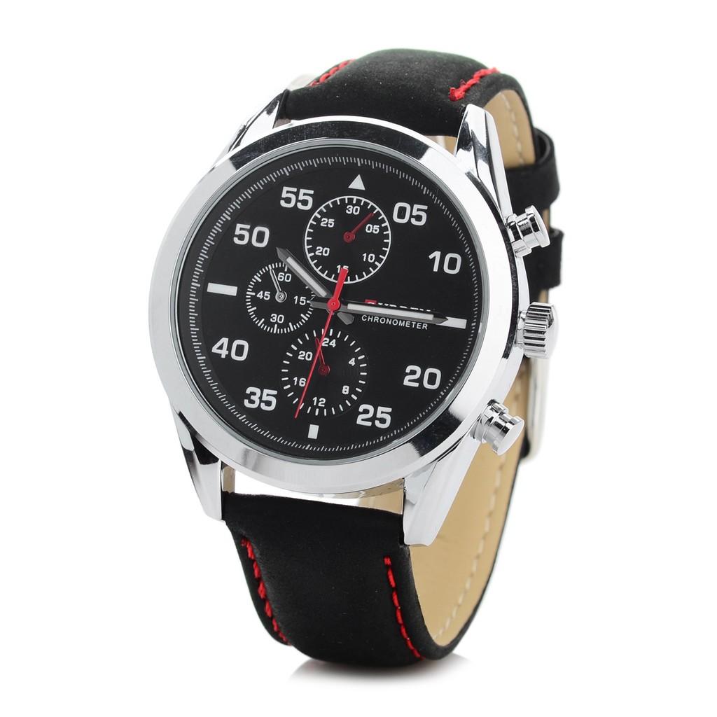 CURREN 8156 皮帶手錶(黑帶銀殼黑面)