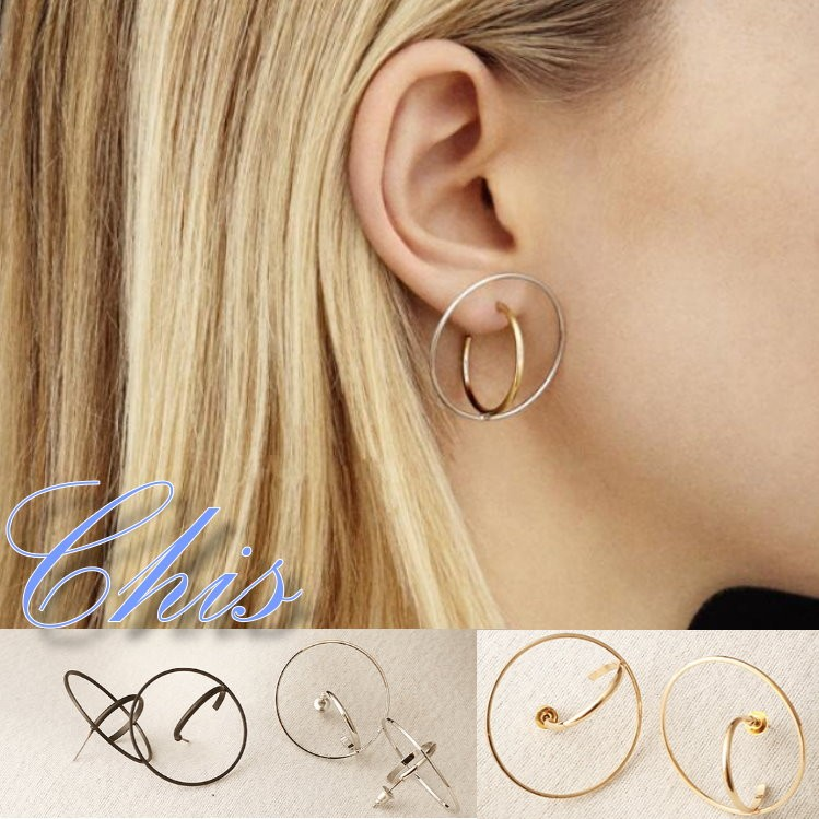 Chis Store ~圓形繞軌耳環~韓國立體 風簡約極簡風線條圓圈圈地球軌道環繞耳針耳飾