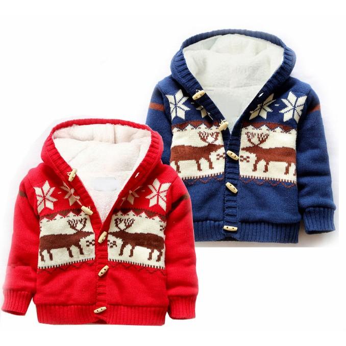 冬天棉線外套加絨保暖毛衣毛衣外套麋鹿鈕扣連帽連帽外套寶寶嬰兒初生兒