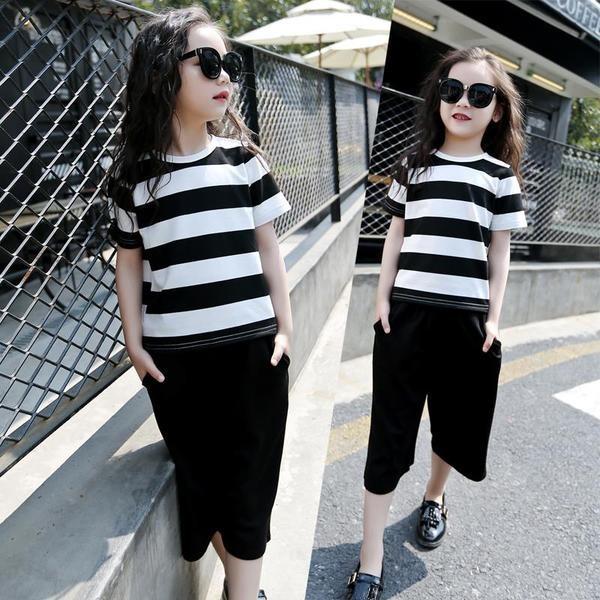 夏裝女 中大女童短袖條紋T 恤寬褲兩件套裝親子裝女裝