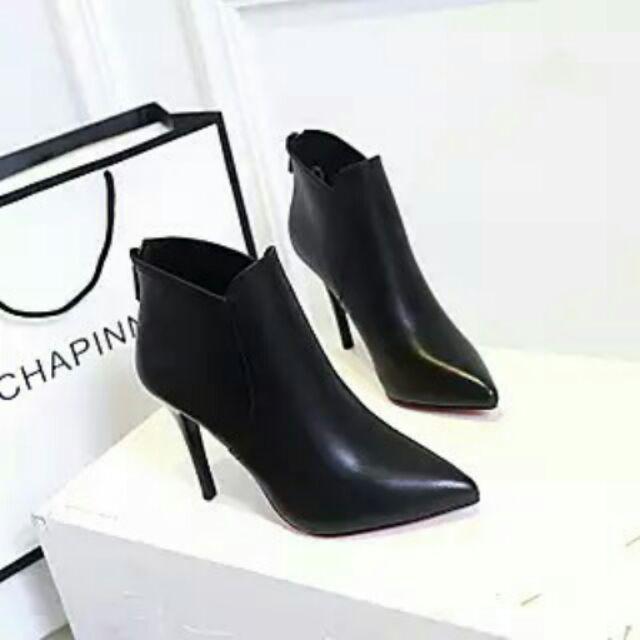歐洲站尖頭超高跟鞋性感細跟短靴踝靴子n 貨號香179685