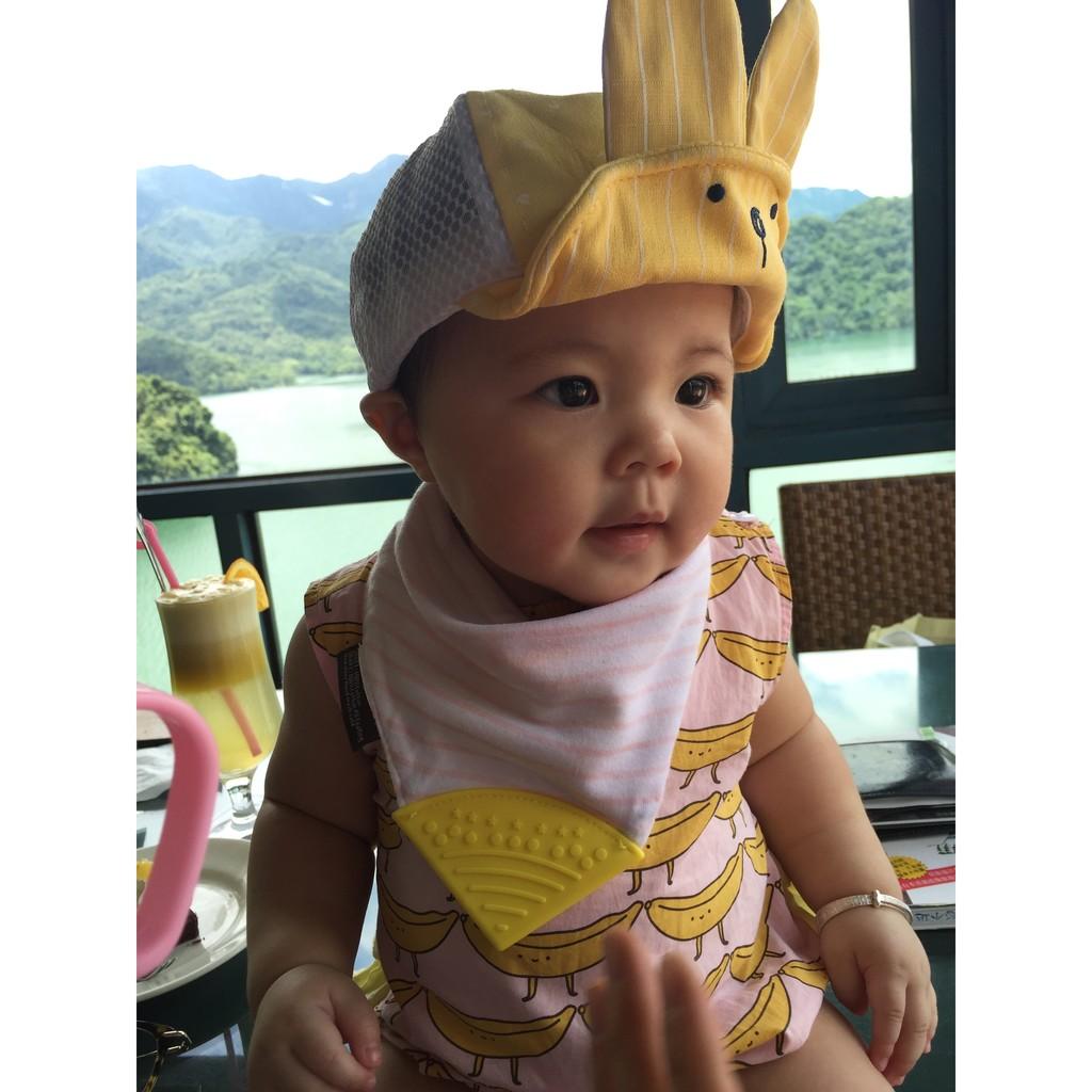 ✨兔耳朵寶寶帽子兔子耳朵 帽遮陽帽網帽鴨舌帽棒球帽百搭網狀透氣遮陽帽可折疊條紋兔耳朵帽子