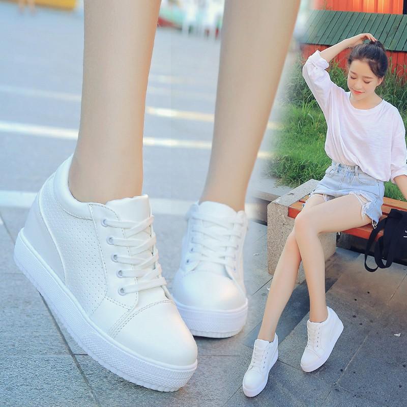 內增高女鞋坡跟 鞋系帶小白鞋厚底松糕板鞋單鞋鞋子女鞋休閒鞋懶人鞋豆豆鞋娃娃鞋厚底鞋慢跑鞋