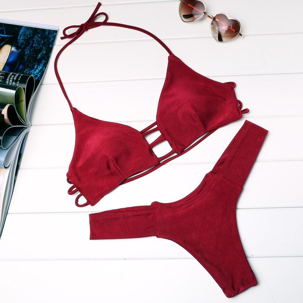 性感女士吊帶墊比基尼套裝游泳游泳衣淋浴海灘