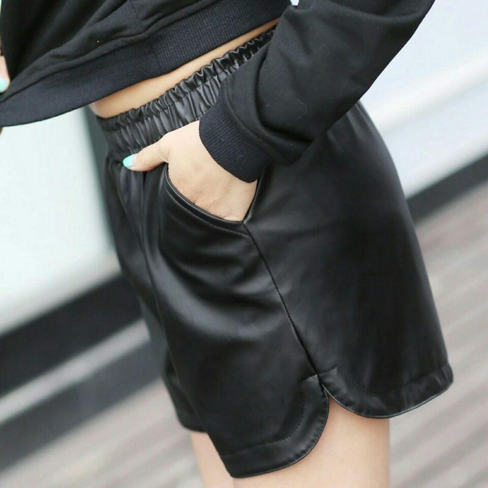 ~韓國品牌~sexy secret PU 皮短褲 休閒 鬆緊腰皮褲