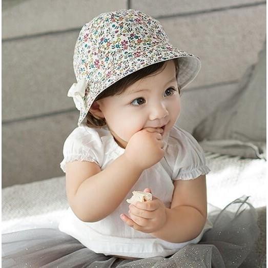 帽子蝴蝶結小碎花盆帽太陽帽遮陽帽漁夫帽寶寶帽童帽雙面帽
