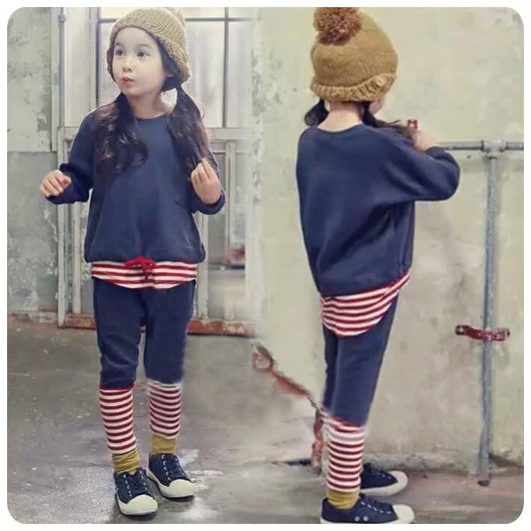 C971 兒童條紋拼接長袖收腰上衣男童女童休閒 套裝條紋長褲兩件套MAMA 咪呀 衣鋪