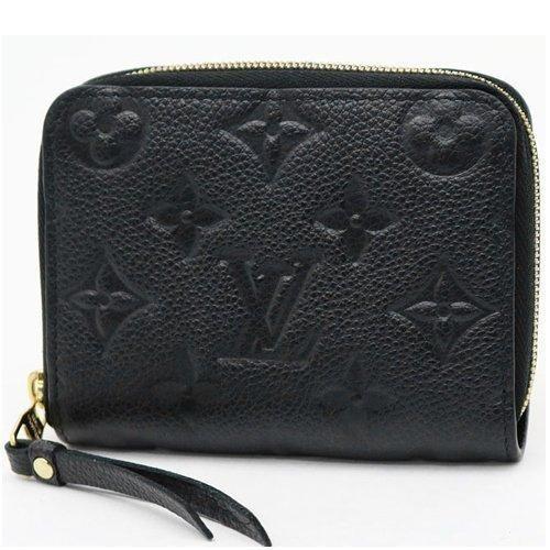 Louis Vuitton LV M60574 花紋全皮革壓紋信用卡零錢包黑LV 牛皮壓花
