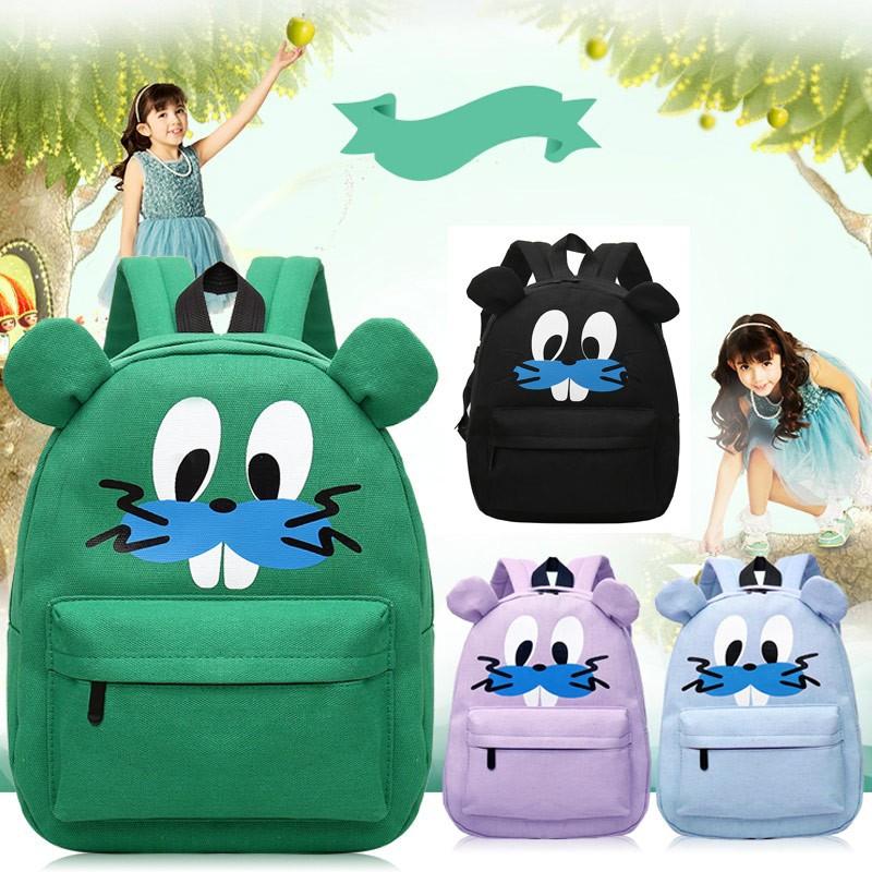 女包甜美淑女雙肩包可愛卡通印花拉鏈閉合外拉鏈袋帆布學生背包書包