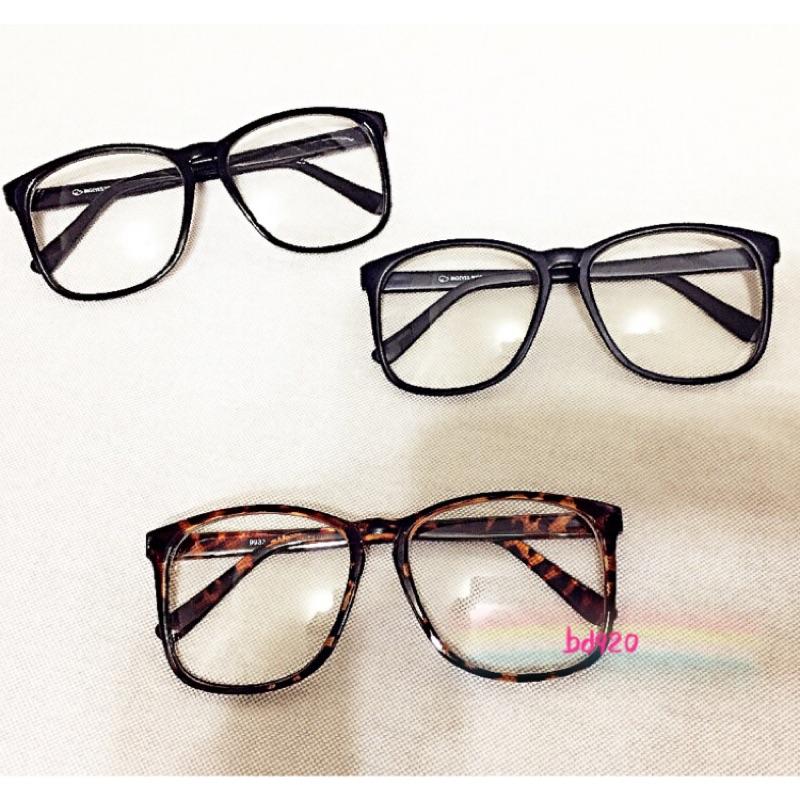 附眼鏡袋布大框眼鏡街頭復古膠框眼鏡男女皆可戴修飾豹紋大黑橢圓框眼鏡架眼鏡可拿去配度數鏡片