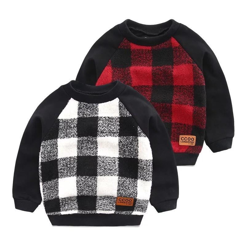 2016 年 兒童雙層加厚衛衣 秋裝寶寶格子上衣 外套圓領男童套頭衫