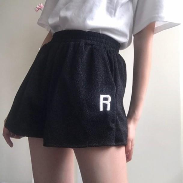 加大 學院風正韓  韓範金屬絲面料口袋字母刺繡 褲闊腿短褲熱褲女裝