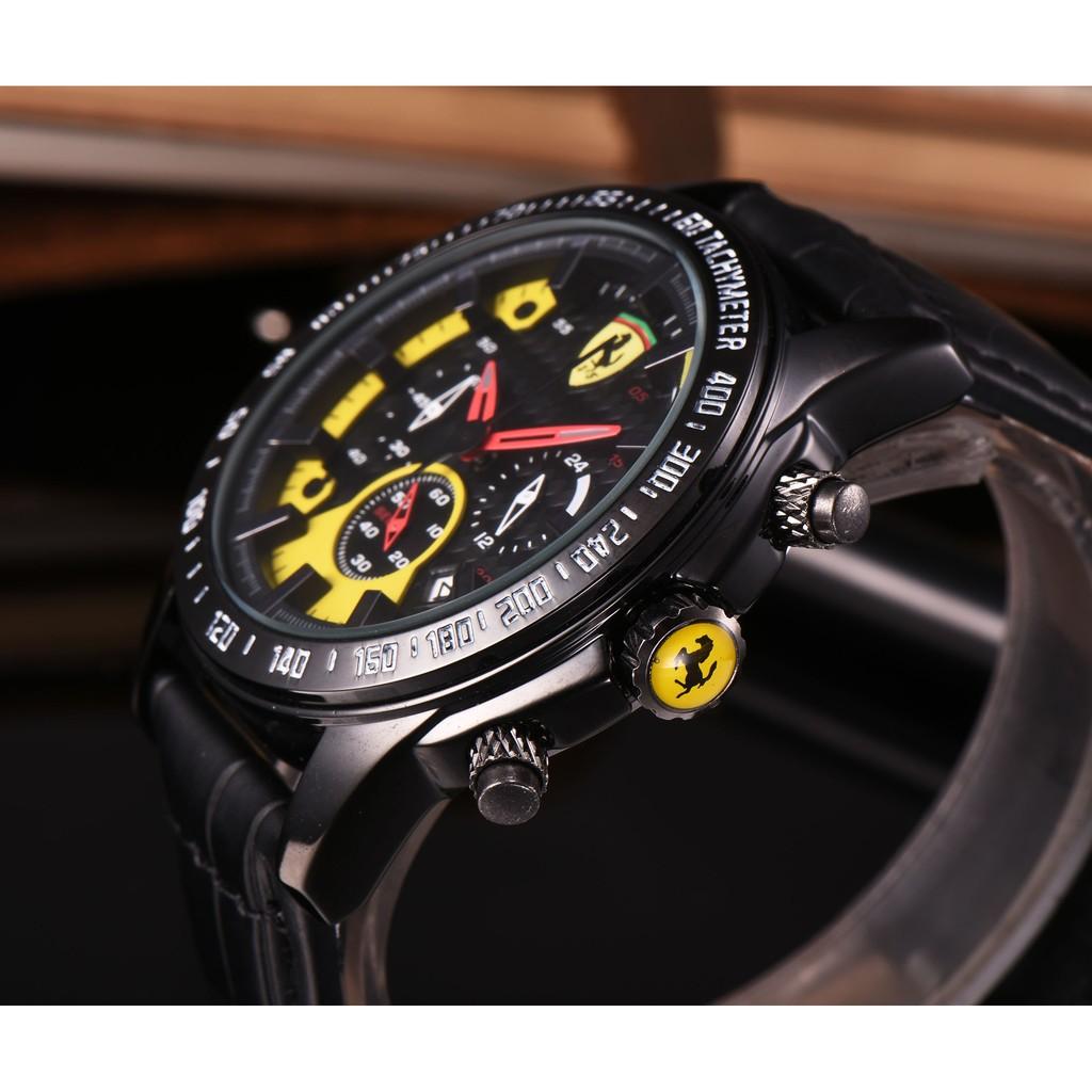 法拉利手錶Ferrari 計時男錶超軟矽膠錶帶 石英計時機芯